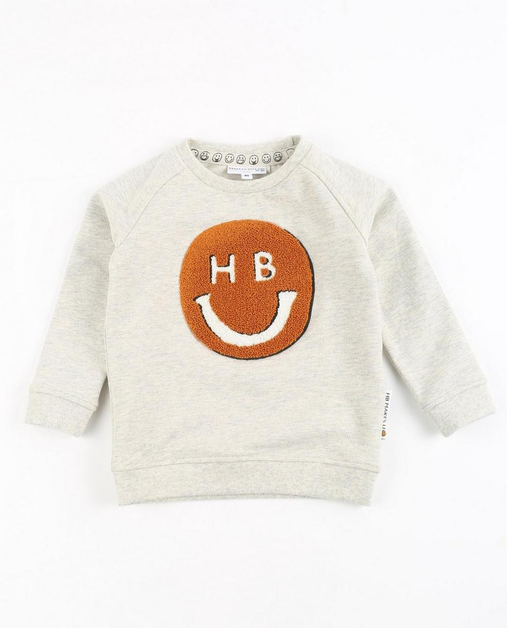 Sweater met bouclé print - in lichtgrijs, Hampton Bays - Hampton Bays